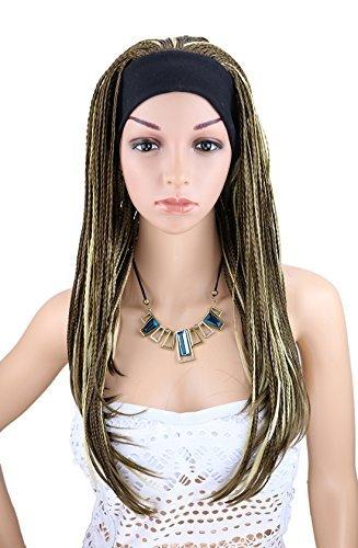 Kalyss Frauen lange braune Beige Braid Perücke mit Band afrikanischen Afro Stil geflochtene Stirnband (Zöpfen Perücke Erwachsene Braunen)