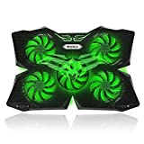 Gaming Laptop Cooling Pad, Vanble 5 Fans Cooler Pad with LED Lights, Dual
