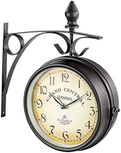 St. Leonhard Bahnhofuhr: Doppelseitige Bahnhofsuhr im Retro-Design (Doppelseitige Uhr) - Mit Zahlen Uhr-kits