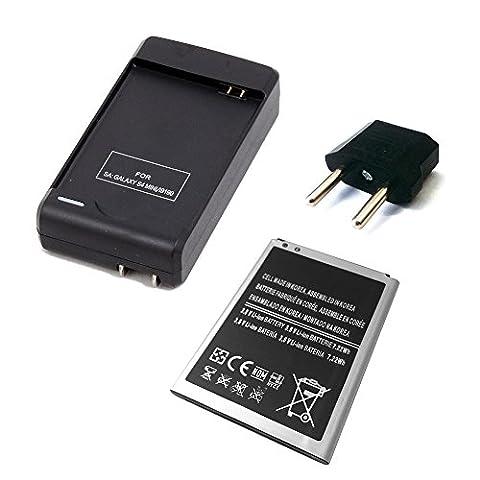 SMARTEX | Neue zusätzliche Batterie Samsung Galaxy S4 Mini 2500 mAh + Doppelt Ladegerät für Samsung Galaxy i9190,i9195