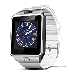 Airpu-dz09 Bluetooth Smart Camera Watch Support Sim Tf Card Heart Rate Monitoring Smart Watch With Sim Card Slot Tf Card For Android Ios Iphone Samsung Lg Mobile Phone For Men & Women Sports Clock (White)