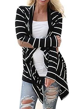 Simple-Fashion Mujer Casual Suelto Rayas Ropa de Abrigo Coat Chaqueta Joven Moda Manga Larga Prendas de Punto...