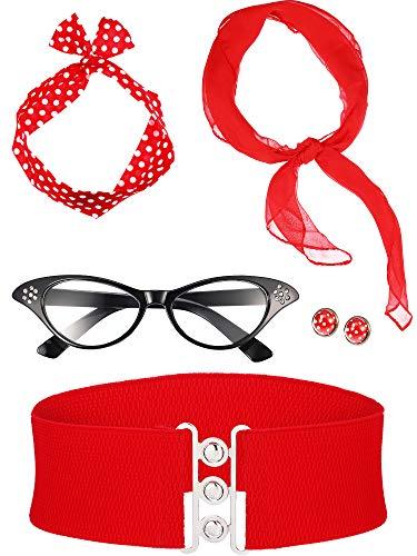 Mädchen Kostüm Jahre 50er Ein - Zhanmai 50 Jahre Kostüm Zubehör Set Enthält Schal Stirnband Ohrringe Katzen Auge Brille Bund für Damen Mädchen Party Lieferungen (Farbe Satz 2)