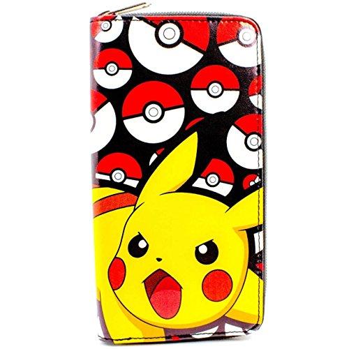 Cartera de Nintendo Pokemon Pikachu Pokeball Negro