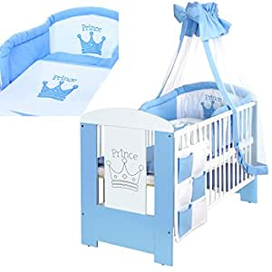 baby kinderbett prince 120x60 cm weiss blau mit 9 teiligen bettw sche komplettset und matratze. Black Bedroom Furniture Sets. Home Design Ideas