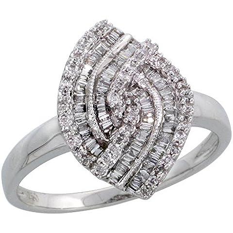 Taglio a Marquise in oro bianco 18 kt, con diamante, a forma di anello, 0,14 k w & 0,6 kt, taglio Baguette, con diamante 5/20,32 (8 cm (16