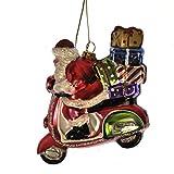 GiselaGraham Weihnachtsbaumschmuck, Design: Weihnachtsmann auf seinem Roller, Glas
