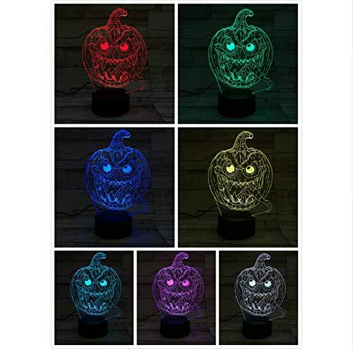 chtlicht LED 3D Illusion Mehrfarben RGB Kind Kinder Baby Nachtlicht Neuheit Beleuchtung Kürbis Lampe Raum ()