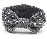Mengatrading Damen Stirnband Gestrickt Schleife Kopfband Haarband Perlen Sterne (grau)