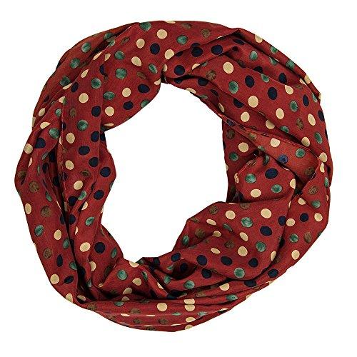 MANUMAR Loop-Schal für Damen | Hals-Tuch in braun weinrot mit Punkte Motiv als perfektes Frühling Sommer Accessoire | Schlauchschal | Damen-Schal | Rundschal | Geschenkidee für Frauen und Mädchen
