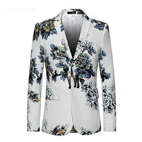 Herren Anzugjacke Floral Blazer Weiß von YOUTHUP Weiß XXXL (Tuch Jacke Mantel Tweed)