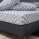 F2F Stars Sterne Spannlaken Bettlaken Spannbetttuch I Größe 180x200 cm I Farbe grau I Baumwolle glatt