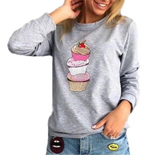 AILIENT Blouse Femme T-Shirt Lâche à Manches Longues Tops Imprime Crème Glacée Style Col Rond Pull Blouse Décontractée Haut gray