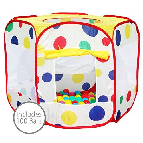 Bentley Kids - Pop-Up-Zelt mit bunten Punkten f. Kinder - Bällebad 100 Bälle - Für drinnen & draußen