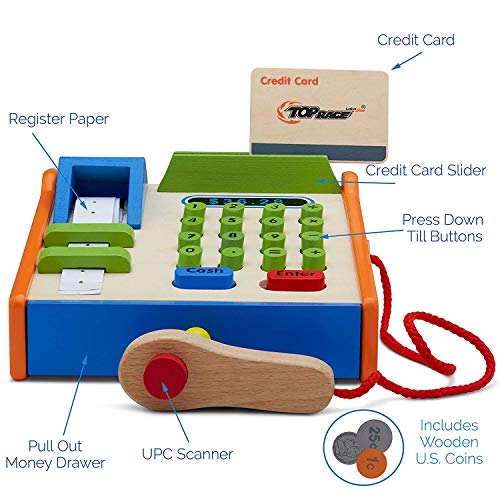 Top Race 30 Piece Wooden Till Toy, Wood Cash Register with Play Toy Wooden Replica Us Coins, Scanner, and Credit Card, Grocery Role Play Educational Pretend Toy Set.