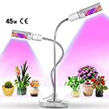L&Z LED-Pflanzenleuchte, 45W, Pflanzenlichtlampe, Austauschbare Glühlampe und Doppelschalter für Zimmerpflanzen, Gärten, Blumen, Gemüsesetzlinge