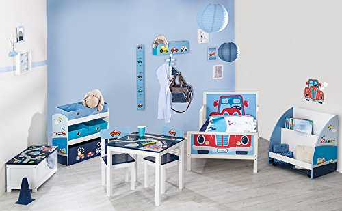 Roba piloto de carreras, serie muebles infantiles en azul y blanco, varios muebles para pequeños fanáticos de los coches azul azul