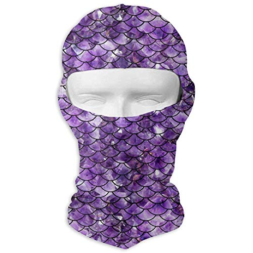 Rghkjlp Purple Sparkles Mermaid Sunscreen Cycling Motorcycle Head Scarf Neck Warmer Face Mask Ski Balaclava Headband Tactical Balaclava Hood -
