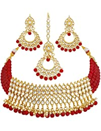 Sukkhi Gold Plated Kundan Pearl Fancy Choker Necklace Set Traditional Jewellery Set with Earrings for Women & Girls (N73502_D1)