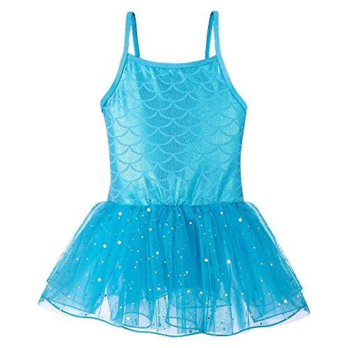 Kidsparadisy Mädchen Tanz Leotard Gymnastik Ballett Tutu Rock mit Tüll ärmellose Kinder Meerjungfrau (Blau, 110(3-4 Jahre)) (Blau Meerjungfrau Rock)