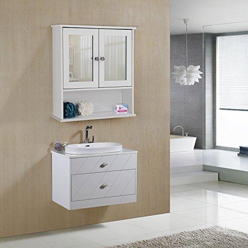 Spiegelschrank mit Ablage aus Holz 56cm - 2