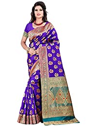 JustFashion Women's Purple Banarasi Silk Saree With Blouse Piece