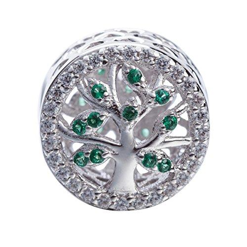"""Charm pendente con albero della vita in argento sterling 925 massiccioe pendente con scritta """"family"""", con zirconi cubici verdi, per braccialetti europei e argento, colore: round bead, cod. sk-01"""
