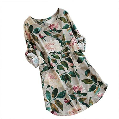 Preisvergleich Produktbild Yanhoo Frauen Blumendruck Minikleid Sommer Beach Party Langarm Kleid Plus Größe Baumwolle und Leinen S ~ L5 (Beige,  S)