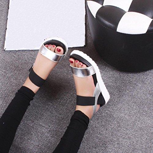 Amlaiworld Donna Sandali,Moda sandali piatti in pelle invecchiata Argento