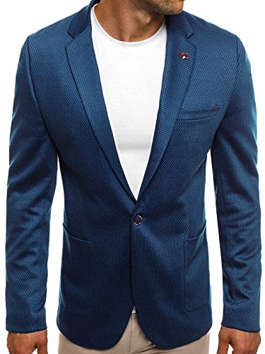 OZONEE Herren Sportsakko Sportliche Sakko Jackett Slim Fit Blazer Anzugjacke Business Anzug Kurzmantel BLACK ROCK 021 L MARINEBLAU