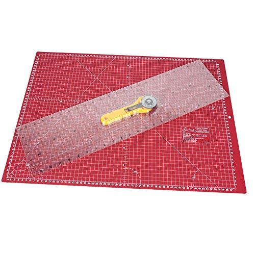 SewEasy Quilter Set groß mit Schneidematte 62,5x45,7 cm (A2) mit Hilfslinien in cm und Inch + Schneidelineal in Inch + Roll-schneider | Schneideunterlage, Cutting mat, beidseitig verwendbar