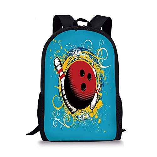 School Bags Bowling Party Decorations,Fun Hobby Retro Ball Floral Swirls Color Splashes Pop Art,Blue Red Yellow for Boys&Girls Mens Sport Daypack -