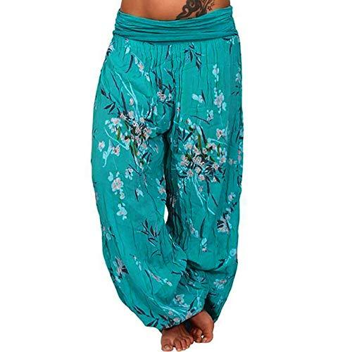 cinnamou Damen Lässig Drucken Lange Weite Beinhosen Hose, Plus Größe Drucken lose beiläufige Elastische Hosen Abgeschnitten Volle Länge Hose