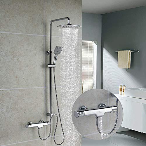 Homelody Thermostat Duschsystem Trennbar Duscharmatur Dusche Chrom Regendusche Duschsäule mit 3-Function inkl. Handbrause Regenbrause Badewannenarmatur