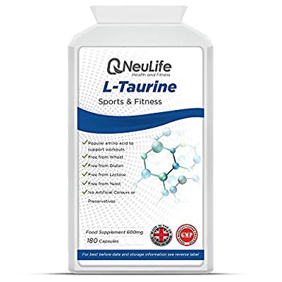 L-Taurine 600mg - 180 Capsules - by Neulife Health and Fitness