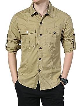 Baymate Camisa Casual De Manga Larga Para Hombre Outdoor Tops Con Bolsillo
