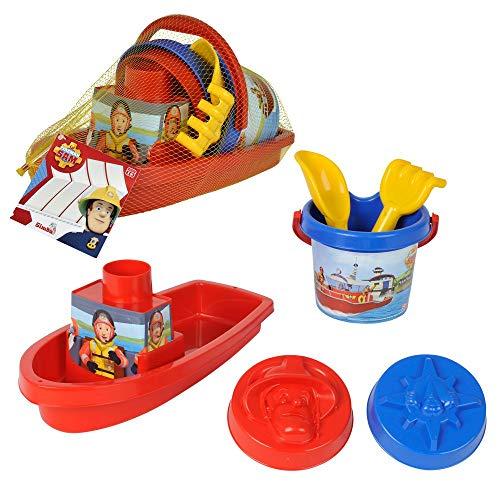 Dickie-Spielzeug Barco y Accesorios | 6 Piezas | Sam El Bombero | Juguetes para la Arena