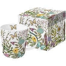 Taza Porcelana Grande con Caja Regalo Decorado Flores y Mariposas Jardín Kensington