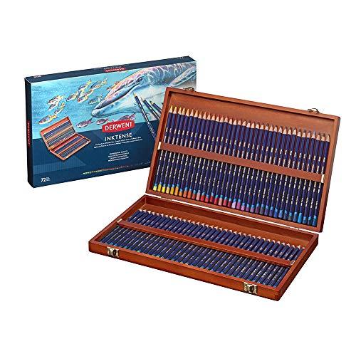 Derwent Inktense - Lápices de tinta soluble en agua (72 colores, en estuche de madera)