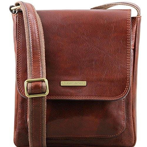 Tuscany Leather Jimmy Herrentasche aus Leder mit Vordertasche Braun Braun