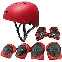 Set di protezioni per bambini, pattini a rotelle Skateboard BMX Scooter Ciclomotori protettivi (ginocchiere + gomitiera + elmetto da polso) Rosso