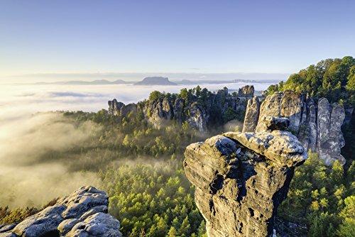 Artland Qualitätsbilder I Bild auf Leinwand Leinwandbilder Wandbilder 60 x 40 cm Landschaften Felsen Foto Natur D0IE Morgenstimmung in der Sächsischen Schweiz