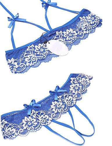 UNibelle Damen Spitzen Reizwäsche Dessous Set Rückenfreie Bodysuit Mit G-String Blau XXL