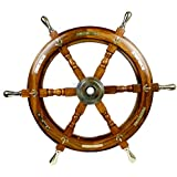 Nautical Premium Sailor's Hand Crafted Brass & Wooden Ship Wheel | Luxury Gift Decor | Boat Collectibles | Nagina International (24 Inches, Anchor & Strips With Brass Handles)