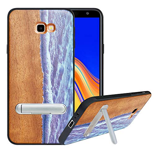 HHDY kompatibel mit Samsung Galaxy J4 Plus /J4 Prime / J4 Core Hülle,Metallständer Kickstand Handyhülle,Schutzhülle aus Hart Holz Soft TPU Bumper,Anti Scratch Wood Cover Case Handyhülle, Wave