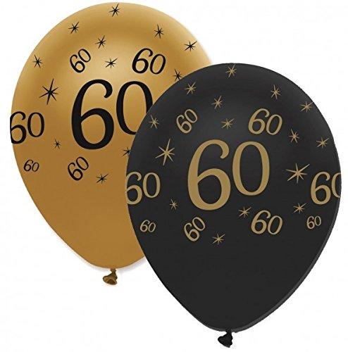 34 Teile Dekorations Set zum 60. Geburtstag oder Jubiläum – Party Deko in Schwarz & Gold - 4