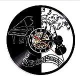 ganjue 1Piece Pianoforte E Violino Vinyl CD Record Orologio da Parete Note Musicali Bellissimo Design Personalizzato Decorazione Artigianale Appeso Craft-No LED