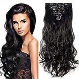 24' Extension a Clip 8 Bandes Ondulé - Extensions Cheveux Clips - Clip in Hair Extensions - 60cm(24 pouces) - Noir