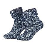 Piarini, calze antiscivolo di lana con applicazioni in ABS. Calzini invernali norvegesi con interno in spugna, unisex, diversi colori, 1 paio Blau-meliert 43-46