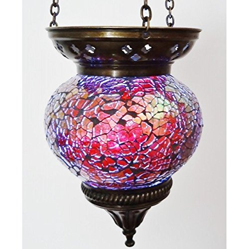 MOSAIC LAMP T LITE CANDLE HOLDER TEA LIGHT DECOR HANGING HANDMADE GLASS MOROCCAN (PURPLE (MEDIUM))